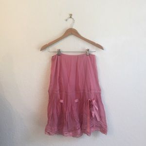 Vintage Betsy's Johnson 4 silk pink bow lace skirt